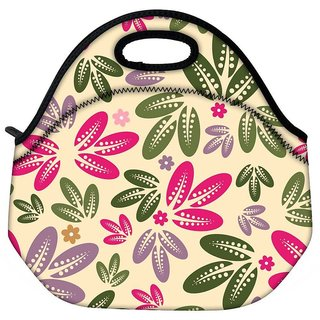 Snoogg Multicolor Leaves Travel Outdoor CTote Lunch Bag