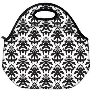 Snoogg Dark Black Pattern Travel Outdoor CTote Lunch Bag