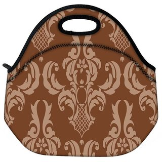 Snoogg Brown Abstract Pattern Travel Outdoor CTote Lunch Bag