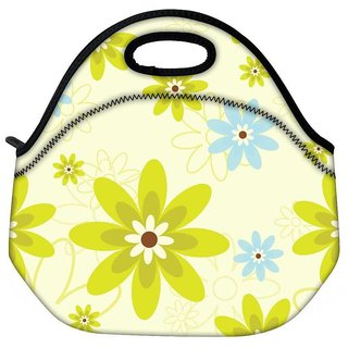 Snoogg Green Flowers Travel Outdoor CTote Lunch Bag