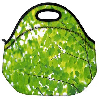 Snoogg Green Leaves Travel Outdoor Tote Lunch Bag