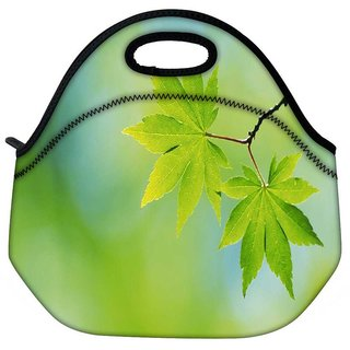 Snoogg Green Neem Leaves Travel Outdoor Tote Lunch Bag