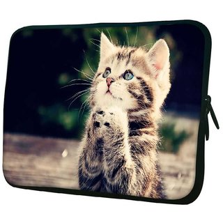 Snoogg Cat Praying 10.2 Inch Soft Laptop Sleeve