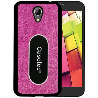 Casotec Metal Back TPU Back Case Cover for Intex Aqua 4G Plus - Pink