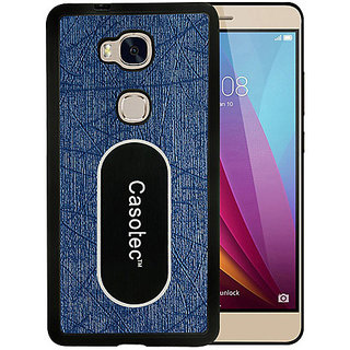 Casotec Metal Back TPU Back Case Cover for Huawei Honor 5X - Dark Blue