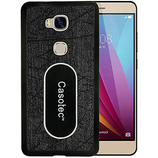 Casotec Metal Back TPU Back Case Cover for Huawei Honor 5X - Black