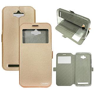 Casotec Premium Kickstand Caller-id Flip Case Cover with Snap Button Closure for Asus Zenfone Max ZC550KL - Gold
