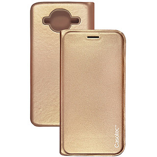 Casotec Premium Flip Case Cover with Invisible Magnet Closure for Samsung Galaxy J2 (2016) - Gold