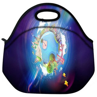 Snoogg Colorful Earth Travel Outdoor Tote Lunch Bag