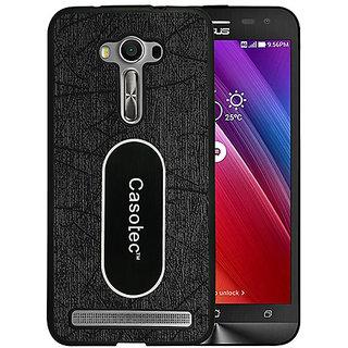 Casotec Metal Back TPU Back Case Cover for Asus Zenfone 2 Laser ZE550KL - Black