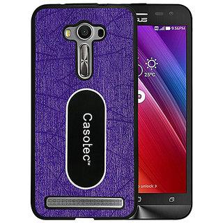 Casotec Metal Back TPU Back Case Cover for Asus Zenfone 2 Laser ZE550KL - Purple
