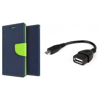 Lenovo Vibe P1M WALLET FLIP CASE COVER (BLUE) With OTG CABLE