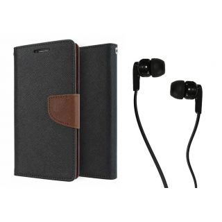 Reliance Lyf Wind 4 WALLET FLIP CASE COVER (BROWN) With 3.5 MM JACK Earphone