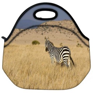 Snoogg Zebra Travel Outdoor Tote Lunch Bag