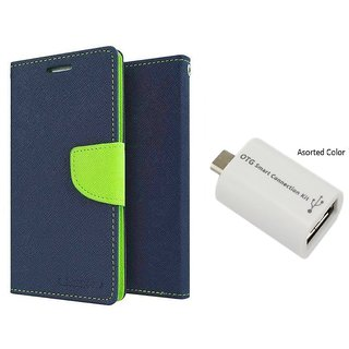 Lenovo A2010 WALLET FLIP CASE COVER (BLUE) With OTG SMART