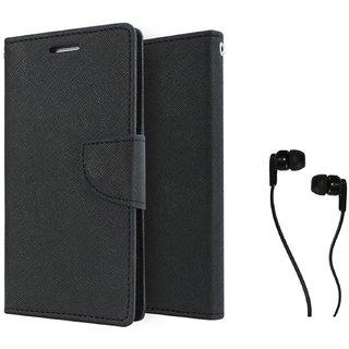 Samsung Galaxy J5  WALLET FLIP CASE COVER (BLACK) With 3.5 MM JACK Earphone