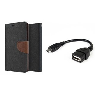 Lenovo A7000 WALLET FLIP CASE COVER (BROWN) With OTG CABLE