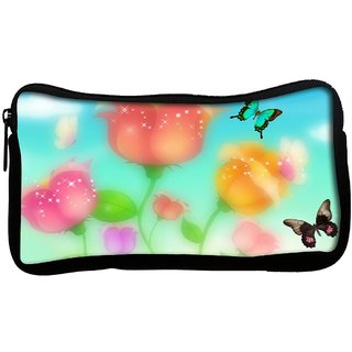 Snoogg sparkling roses and butterflies 2700 Poly Canvas  Multi Utility Travel Pouch