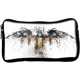 Snoogg Eagle with american flagPoly Canvas  Multi Utility Travel Pouch