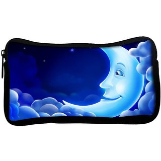 Snoogg Smiling Moon Poly Canvas  Multi Utility Travel Pouch
