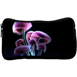 Snoogg Neon Mushroom Poly Canvas  Multi Utility Travel Pouch