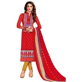 PADMiNi Kashmiri Cotton Dress Material Red