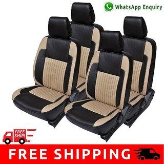 Hi Art Black and Beige Leatherite Custom Fit Seat Covers for Hyundai Santro - Complete Set