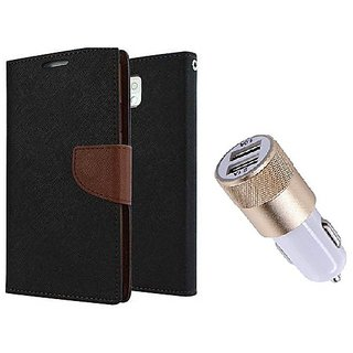 Reliance Lyf Wind 5 WALLET FLIP CASE COVER (BROWN) With Fast Usb Car Charger