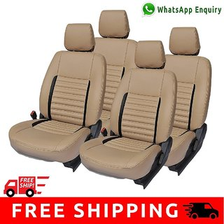 Hi Art Beige and Black Leatherite Custom Fit Seat Covers for Maruti Zen Estilo