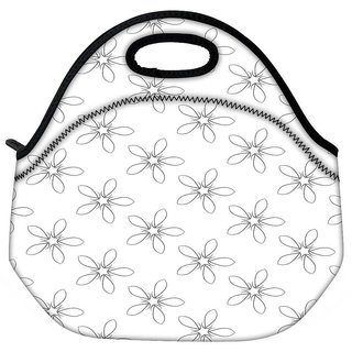Snoogg Grey Floral White Travel Outdoor CTote Lunch Bag
