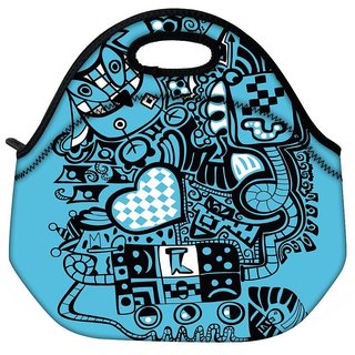 Snoogg Blue Animals Travel Outdoor CTote Lunch Bag