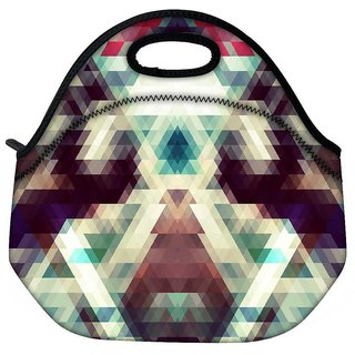 Snoogg Triangle Mosaic Abstract Travel Outdoor Tote Lunch Bag