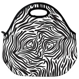 Snoogg Zebra Pattern Travel Outdoor CTote Lunch Bag