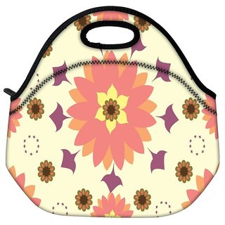 Snoogg Cream Floral Travel Outdoor CTote Lunch Bag