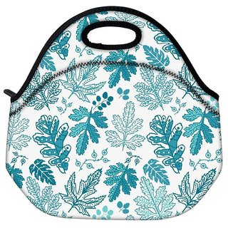 Snoogg Blue Leaves Travel Outdoor CTote Lunch Bag