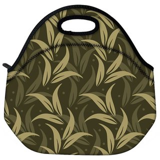 Snoogg Green Leaves Travel Outdoor CTote Lunch Bag