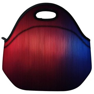 Snoogg Woollen Red Blue Design Travel Outdoor Tote Lunch Bag