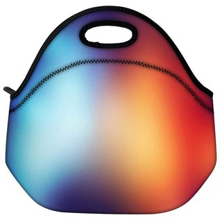 Snoogg Blue And Orange Faded Design Travel Outdoor Tote Lunch Bag