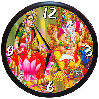 Sky Trends Diwali Festival Religious Laxmi Shri Ganesh Wall Clock  Analog   (Multicolour, With Frame) Gifts 9 inc