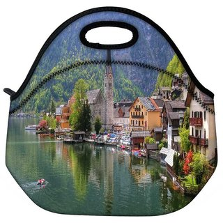 Snoogg House And Small Boat Travel Outdoor Tote Lunch Bag
