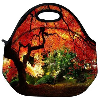 Snoogg Red Leaves In Trees Travel Outdoor Tote Lunch Bag