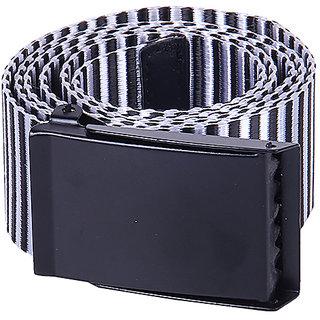 Black Buck Men Casual Black, White Genuine Leather Belt  (Black, White)