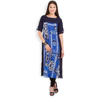 Vishudh Navy Blue Polyester Round Neck 3/4th Sleeve Printed Kurta