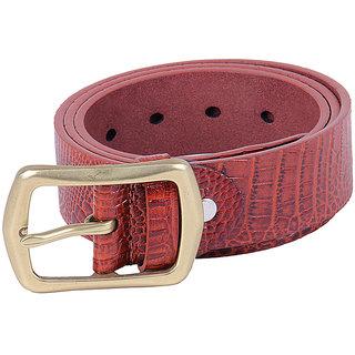 BLACK BUCK Boys, Men Casual Red Genuine Leather Belt  (DARK RED)