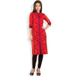 Vishudh Red Cotton Mandarin Collar 3/4th Sleeve Printed Kurta