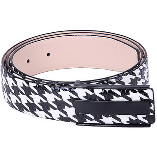 Black Buck Boys Casual White, Black Genuine Leather Belt  (Black, White)