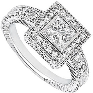 LoveBrightJewelry 18K White Gold & Diamond Classic Engagement Ring- 1.00 CT