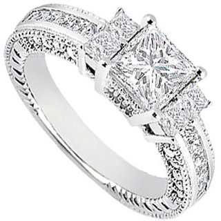 LoveBrightJewelry 18K White Gold & Diamond Engagement Ring- 1.75 CT