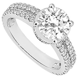 LoveBrightJewelry 18K White Gold & Diamond In Style Engagement Ring- 1.00 CT