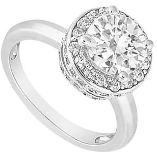LoveBrightJewelry 18K White Gold & Diamond Exquisite Engagement Ring- 1.00 CT